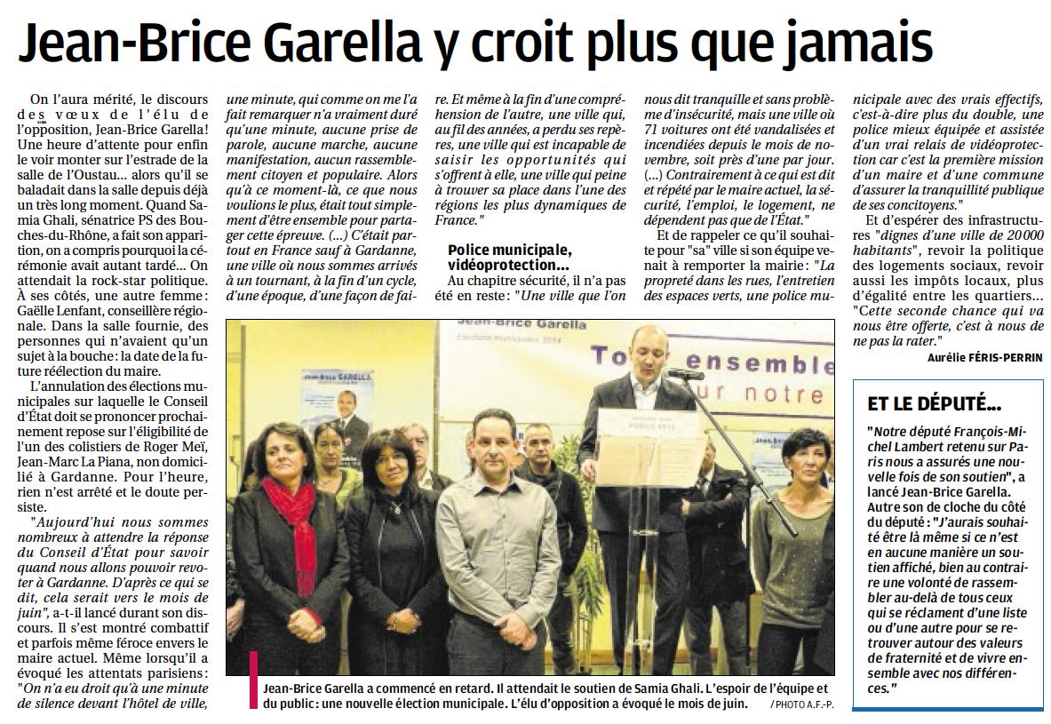 Article La Provence - cérémonie des voeux Jean-Brice Garella