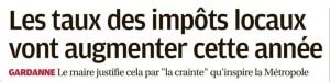 Article La Provence - Augmentation impôts